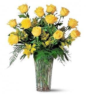 Dozen Yellow Roses bunch