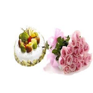 The Fruit Cake with beautiful pink Roses