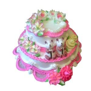 Pink and white cream cake