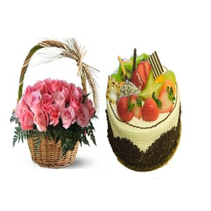 The Fruit Cake with Flower Basket