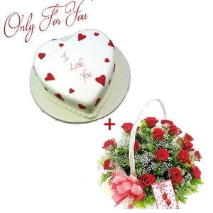 Cake and Flower Combo