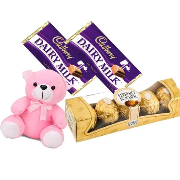 Winnie teddy with cadbury