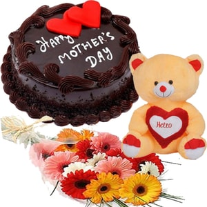 Cute teddy with chocolate cake hamper