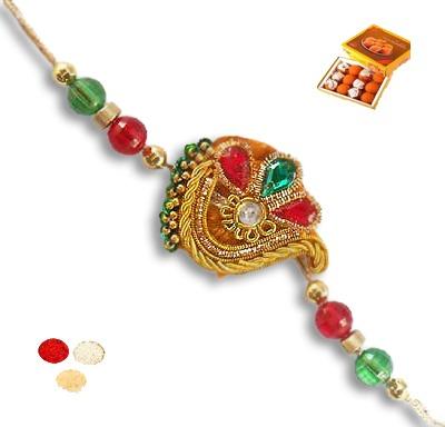 Red and Green Kundan Rakhi