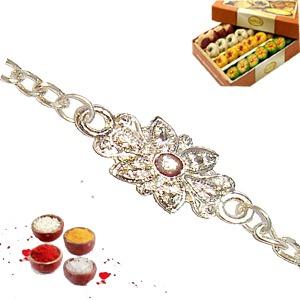 Pure silver Rakhi with Mawa Peda 200gr
