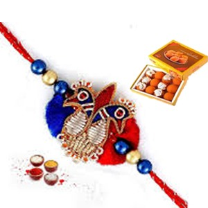 Red and blue peacock Rakhi