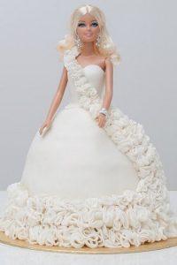 White queen Barbie cake