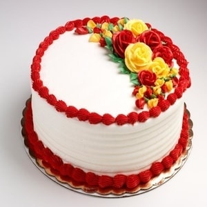 Red and Yellow Flowered Cake