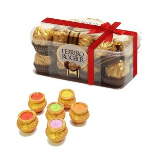 Pot candles with ferrero rocher