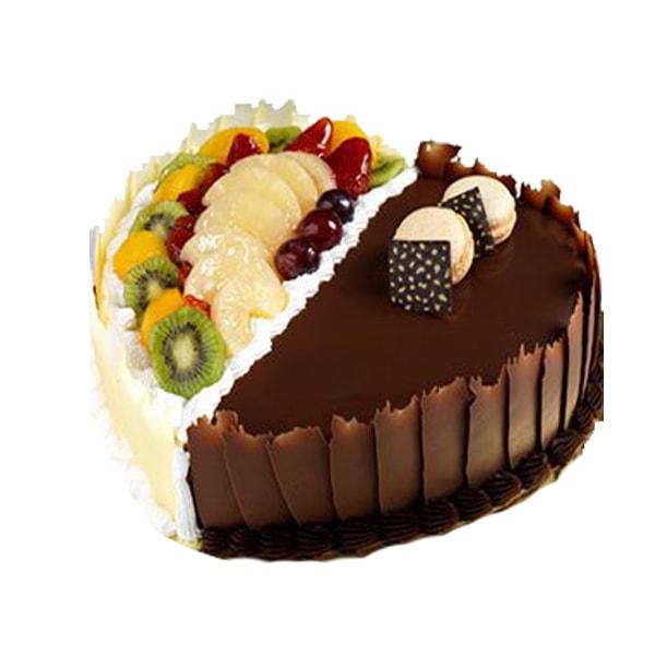 Appetizing chocolate fruit cake