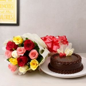 Red&yellow flowers with chocolate cake