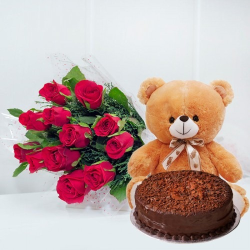 Pink Roses teddy with chocolate cake