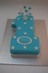 Stars on Number 1 Cake