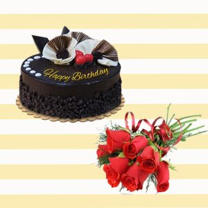 Delicious Cake red rose combo