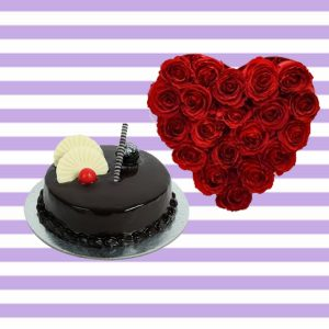 Hearty Flower and Choco Cake hamper