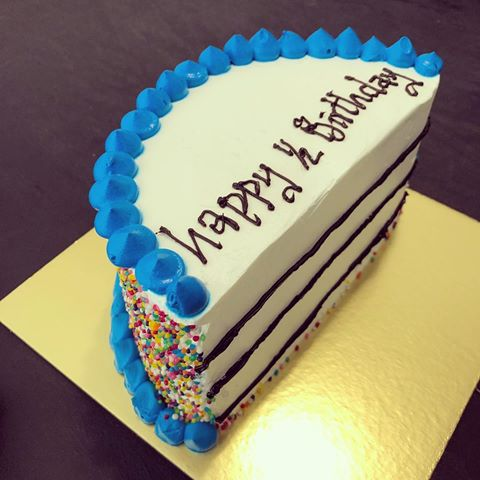 Fantastic Half Birthday Blue Cream Cake Midnight Cake Delivery In Hyderabad Personalised Birthday Cards Paralily Jamesorg