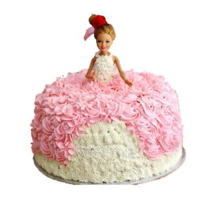 Cute pink baby doll cake