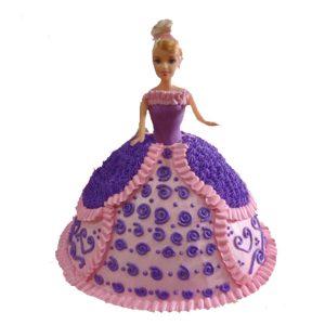 Purple barbie doll cake