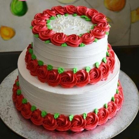 Rose flower step cake