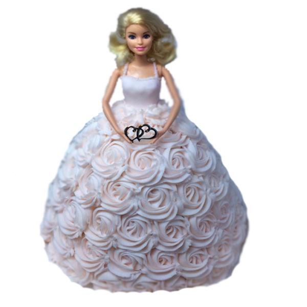 Pretty creamy barbie doll cake